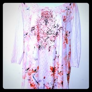 Closet Full Tunic Asymetrical Textured Floral XL
